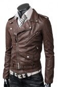 Brown belted leather rider jacket