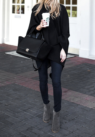 krystal schlegel blogger shoes jeans bag cardigan black bag skinny jeans grey boots ankle boots cold weather outfit cape coffee winter outfits winter look