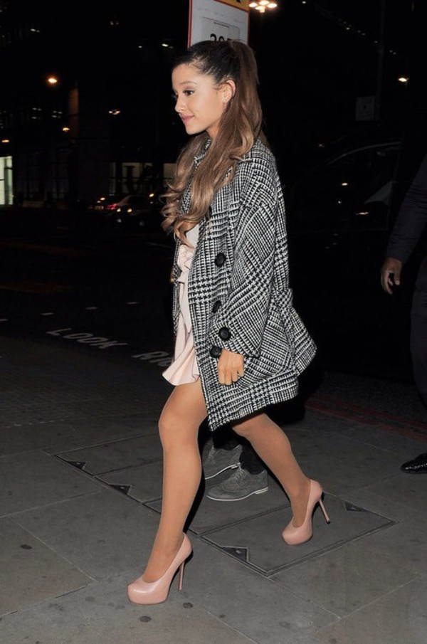 black and white coat plaid coat pea coat pea coat ariana grande