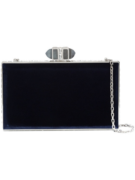 metal women bag blue velvet