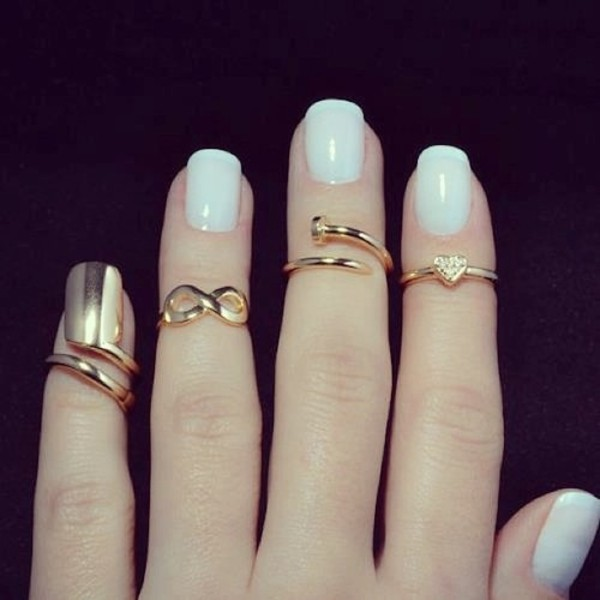 jewels knuckle ring ring black gold nail polish