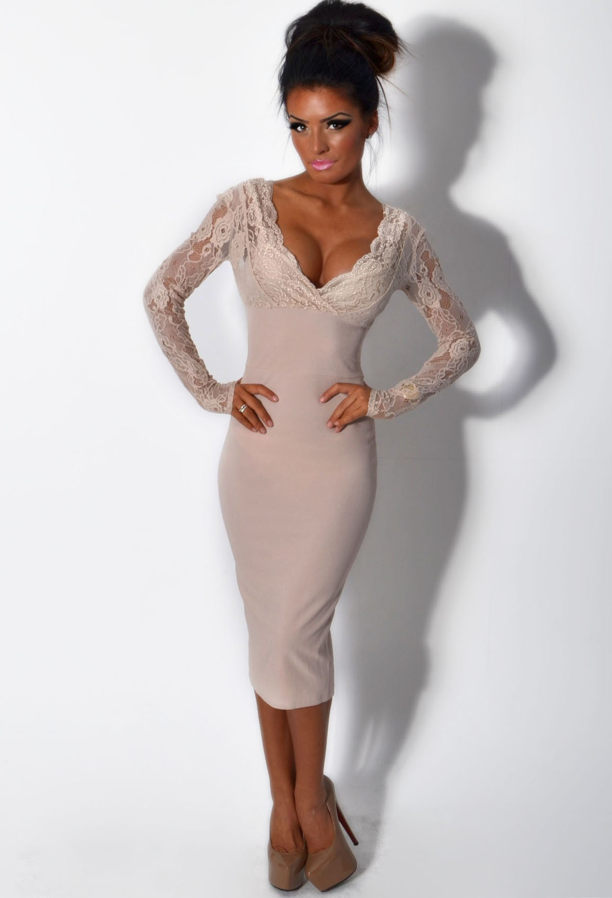 Jarlo LUXE Nude Lace Panel Bodycon Midi Dress | Pink Boutique