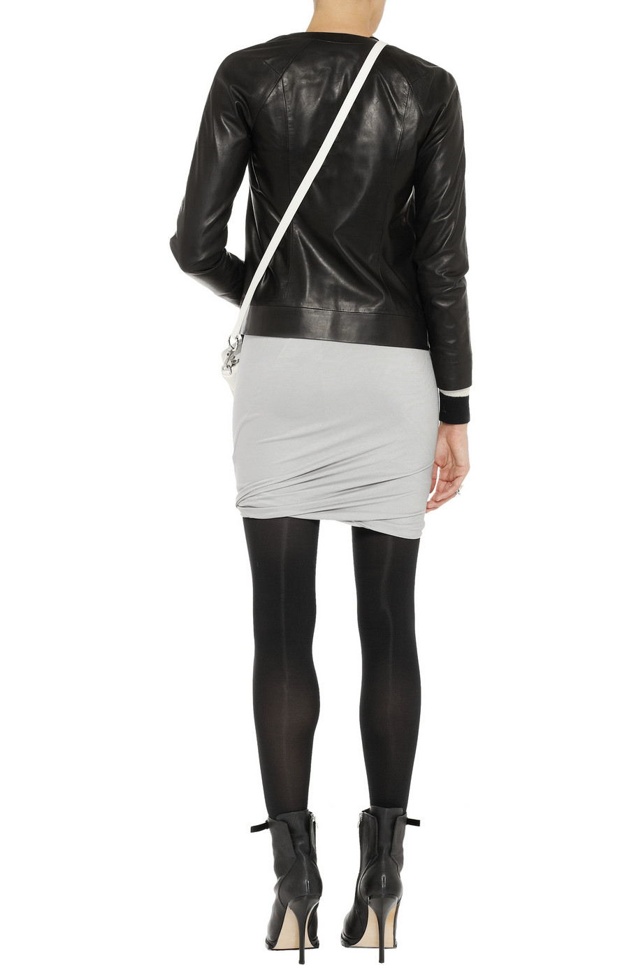 T by Alexander Wang Ruched sateen-jersey mini skirt – 50% at THE OUTNET.COM