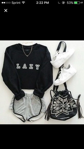 sweater lazy day black dope bag