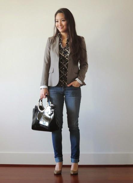 sensible stylista blogger office outfits blazer handbag jacket jewels blouse jeans bag shoes scarf