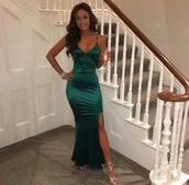 dress,emerald green,satin,maxi,slit,evening dress,strappy