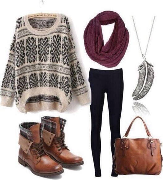 boots sweater scarf leggings outfit necklace style shoes cute girly boot tribal pattern pattern print weather burgundy jeans yoga pants idea hipster retro vintage accessories purse brown white navy dark blue leather jewels tights bag shirt tribal pattern feathers feather necklace burgundy scarf burgundy jumper knitted sweater oversized sweater black and white white sweater leather boots brown boots winter outfits fall outfits knitwear blouse cardigan burgundy black leggings and blouse brand colour material love