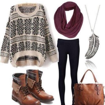 jewels scarf cute sweater boots brown jeans shoes outfit leather hipster girly boot tribal pattern print weather maroon leggings yoga pants idea retro vintage accessories purse white navy dark blue tights bag shirt tribal pattern burgundy necklace black and white feathers feather necklace burgundy scarf jumper knitted sweater oversized sweater sweatershirt white sweater leather boots brown boots fall winter knit blouse cardigan wine red black leggings and blouse brand colour material style top hiver pullover imprim? noir blanc scarf red