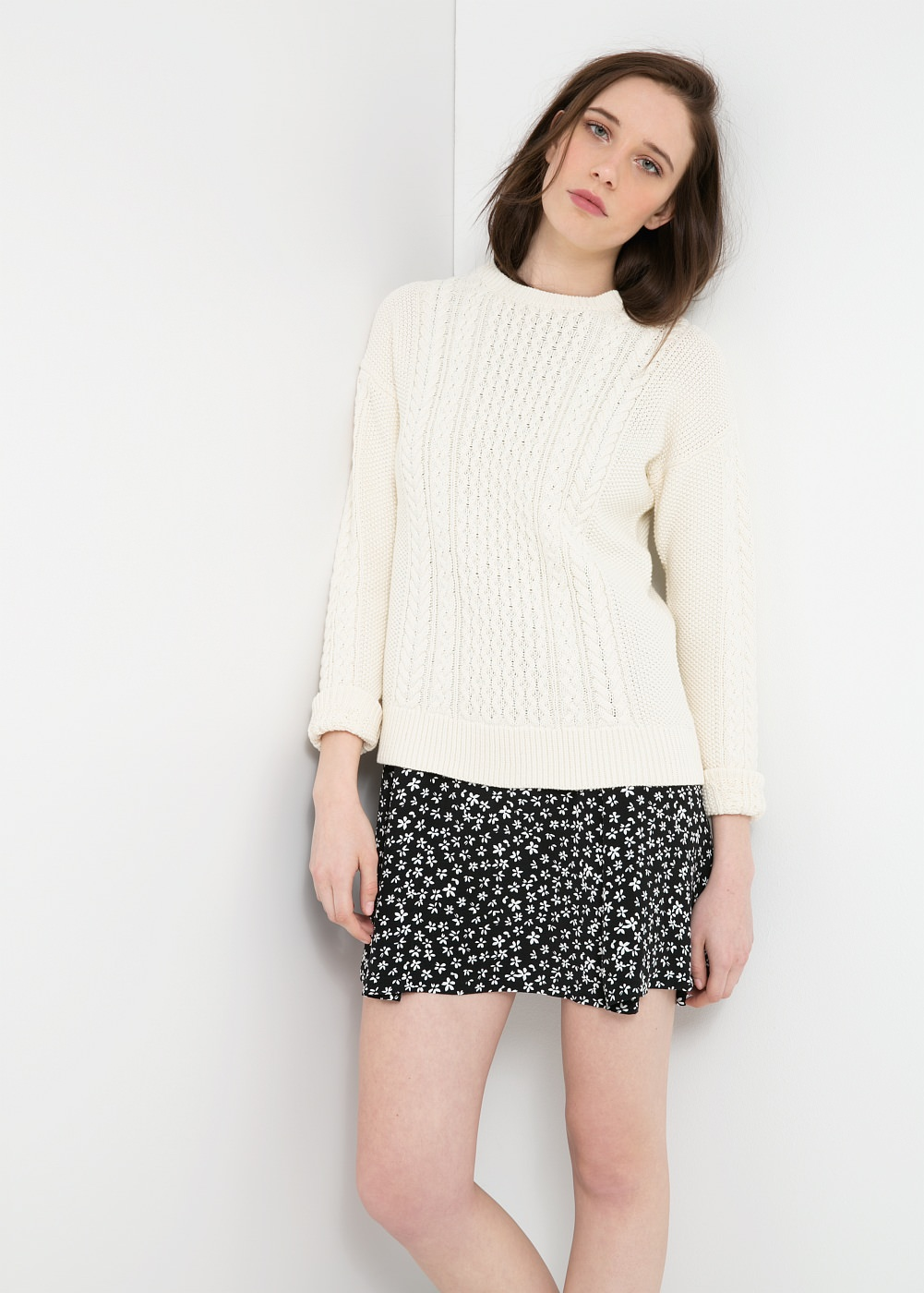 Cable-knit cotton sweater - Cardigans and sweaters for Women | MANGO