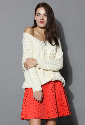 sweater sunny afternoon v-neck sweater in cream cream white chicwish