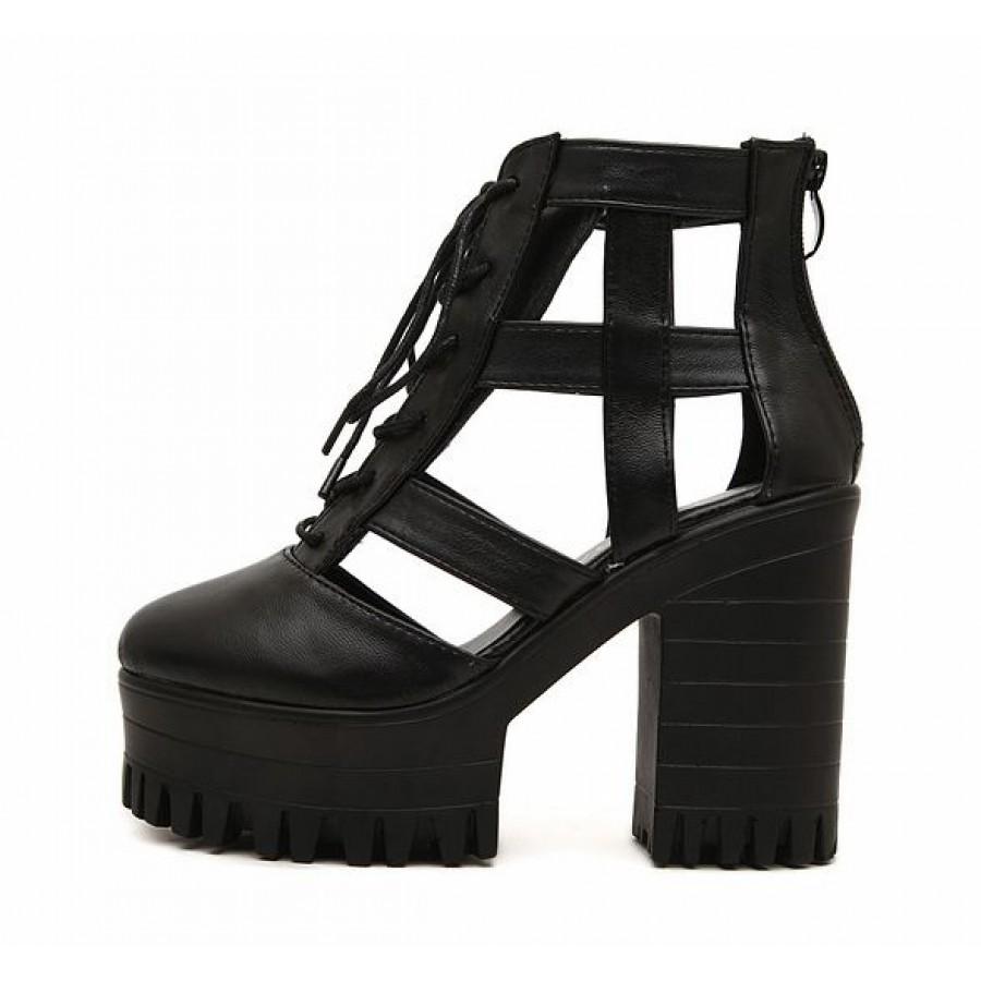 Black Leather Platform Lace-Up Cut-Out Strap Sandal Boots