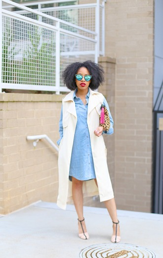 mattieologie blogger dress bag sunglasses denim dress sleeveless coat