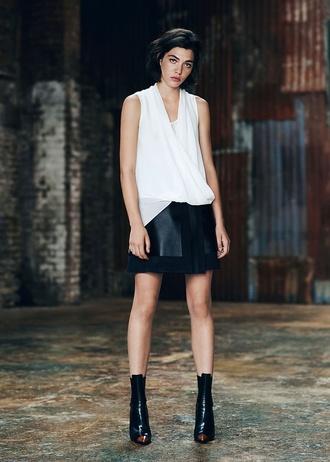 white blouse blouse high heels skirt ankle boots leather skirt white t-shirt black high waisted skirt