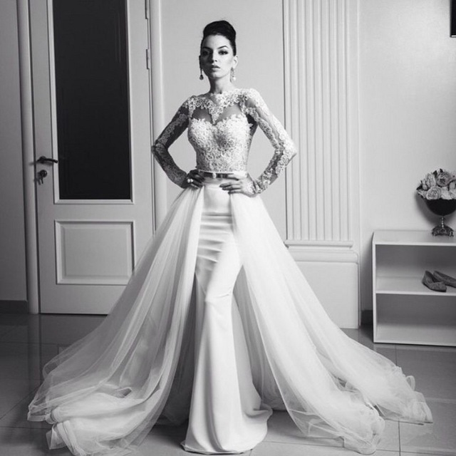 8fba16e4fed Aliexpress.com   Buy Gorgeous Mermaid Long Sleeve Wedding Dresses with Detachable  Train 2016 Tulle White Ivory Lace ...