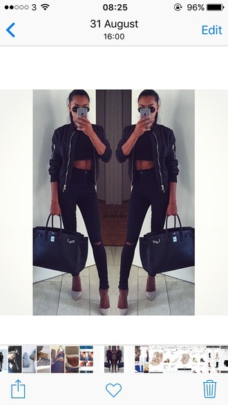 top topshop bomber jacket crop tops ripped knee jeans