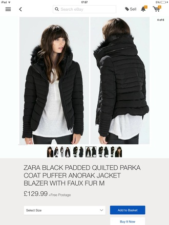 bag zara black anorak padded jacket jacket winter jacket fur