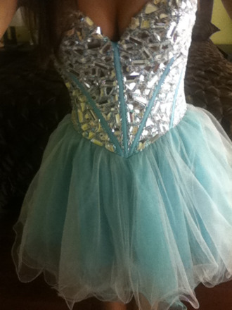dress diamonds teal dress strapless glitzy mini dress rhinestones