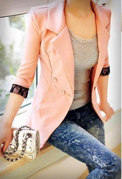 jacket lace pink blazer fashion clothes acid wash lacarmina shirt jeans cuffs womens jacket