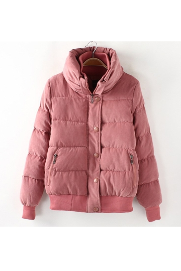 Stand Collar Thick Cotton Padded Coat [FEBK0376]- US$64.99 - PersunMall.com