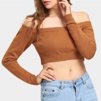 blouse girly off the shoulder off the shoulder top crop tops crop brown