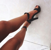 shoes,heels,black,legs,girl,fashion,high heels,trendy,thick heel,black heels,girly,girly shoes,black  high heels,style,help me find,black shoes,cute high heels,ankle strap heels