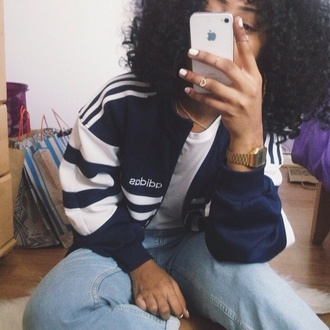 jacket adidas adidas jacket sweater adidas originals blue white three stripes shirt sweatshirt iphone navy bomber jacket blue jacket