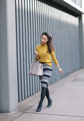extra petite,blogger,sweater,skirt,bag,jewels,jacket,tights,shoes,yellow sweater,handbag,pencil skirt,high heel pumps,tumblr,turtleneck,turtleneck sweater,yellow,midi skirt,stripes,striped skirt,opaque tights,pumps,pointed toe pumps,black heels,grey bag,winter work outfit,work outfits,knitted skirt,midi knit skirt