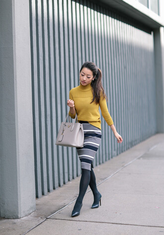 extra petite blogger sweater skirt bag jewels jacket tights shoes yellow sweater handbag pencil skirt high heel pumps tumblr turtleneck turtleneck sweater yellow midi skirt stripes striped skirt opaque tights pumps pointed toe pumps black heels grey bag winter work outfit work outfits knitted skirt midi knit skirt