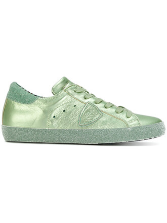 paris women sneakers leather green shoes