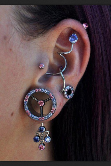 jewels piercing earrings ear piercings plugs gauge gauged ear industrial earring Body Jewelry Ring