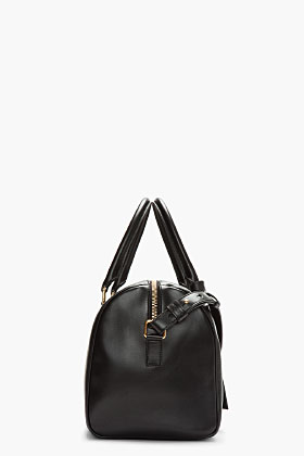 Saint Laurent Black Buffed Leather Minimalist Duffle 6 Bag for women | SSENSE