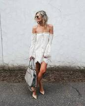 dress,tumblr,mini dress,white dress,long sleeves,long sleeve dress,off the shoulder,off the shoulder dress,bag,grey bag,pumps,mid heel pumps,sunglasses,shoes