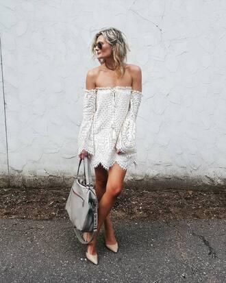 dress tumblr mini dress white dress long sleeves long sleeve dress off the shoulder off the shoulder dress bag grey bag pumps mid heel pumps sunglasses shoes