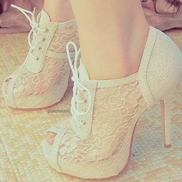 I Love Cute Shoes |  ZIPPERED LACE HEELS