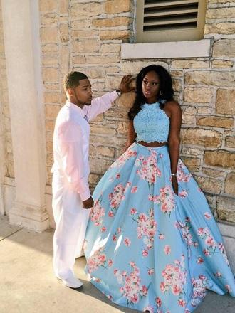 dress floral long blue prom dress fashion prom black girls killin it dope prom dress floral prom dress