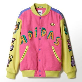 jacket adidas colorful letterman jacket