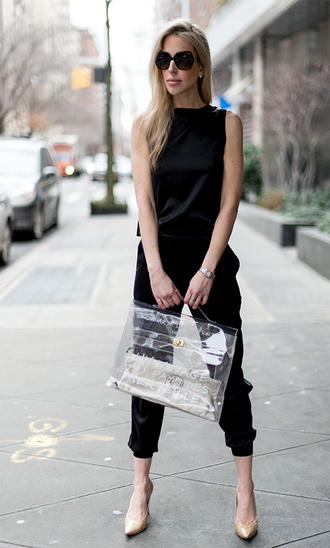 yael steren blogger sunglasses all black everything black jumpsuit transparent  bag nude heels
