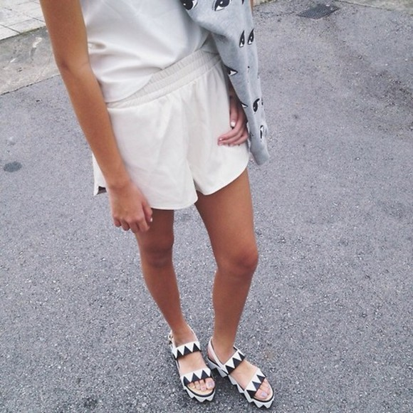 shoes black sandal tumblr white sandals bocasky aztec black and white tumblr clothes zig zag shorts sweater
