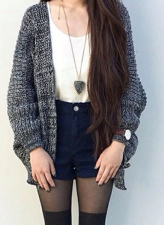 cardigan grunge style blouse tights shorts
