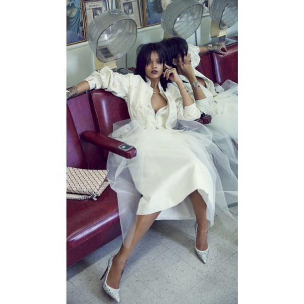 shoes pumps dress rihanna fashion white editorial pointed toe our favorite dresses 2015