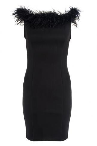 Black bardot feather neck dress