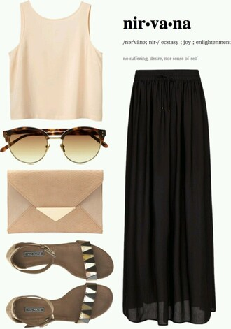blouse black skirt crop tops maxi skirt skirt shoes sandals round sunglasses