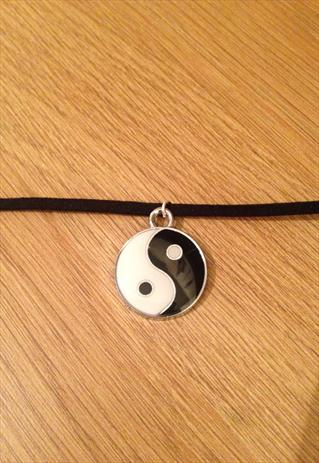 Black Choker Necklace with Yin Yang Symbol | TheTrinketTrove | ASOS Marketplace