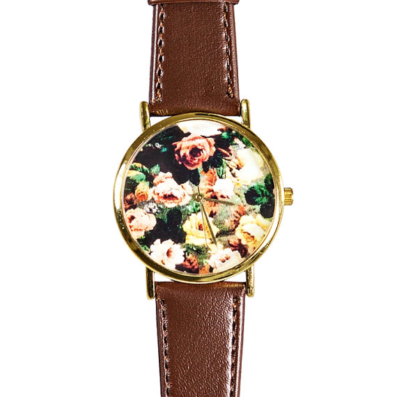 Autumn Fall Rose Floral Watch, Vintage Style Leather Watch, Women Watches, Boyfriend Watch