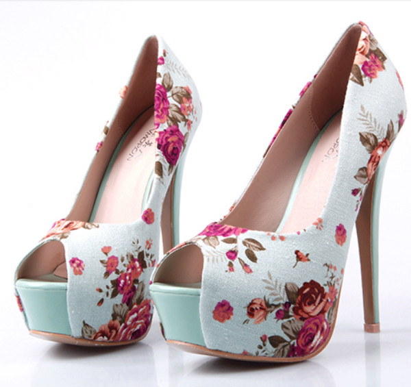 shoes high heels blue high heels floral print shoes cute cute high heels cute high heels