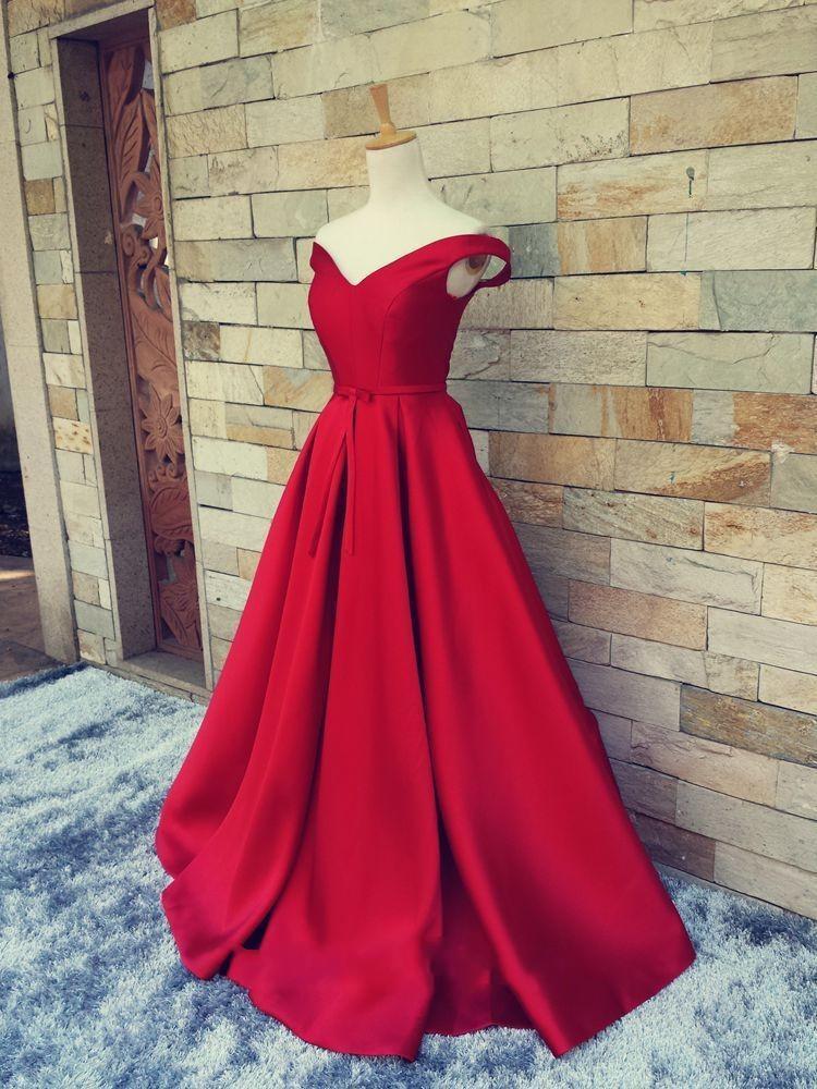 A-line long off shoulder red prom dresses,cheap evening dresses,BD3903