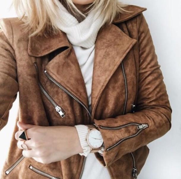 abb77c755f89 jacket suede jacket brown jacket zip tan suede leather faux