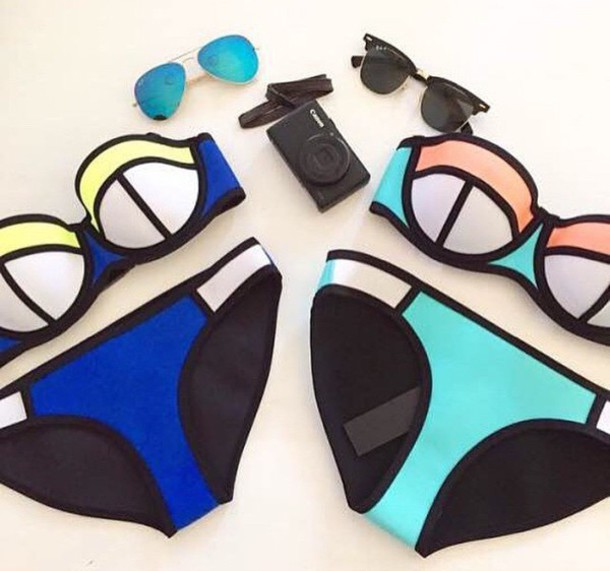 swimwear bright bikini black and white colorful summer summer outfits fashion