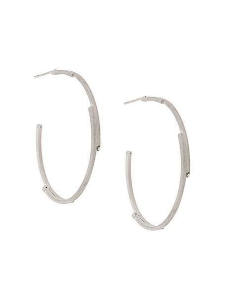 women earrings hoop earrings silver grey metallic jewels
