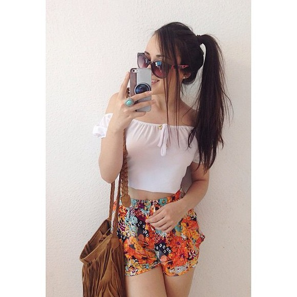 white t-shirt floral shorts